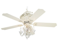 "Crystal 52"" Casa Chic Antique White Ceiling Fan with 4-Light Kit traditional-ceiling-fans"