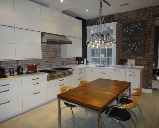 Upper Westside Brownstone - Exposed Brick - Contemporary Matte White Finish contemporary