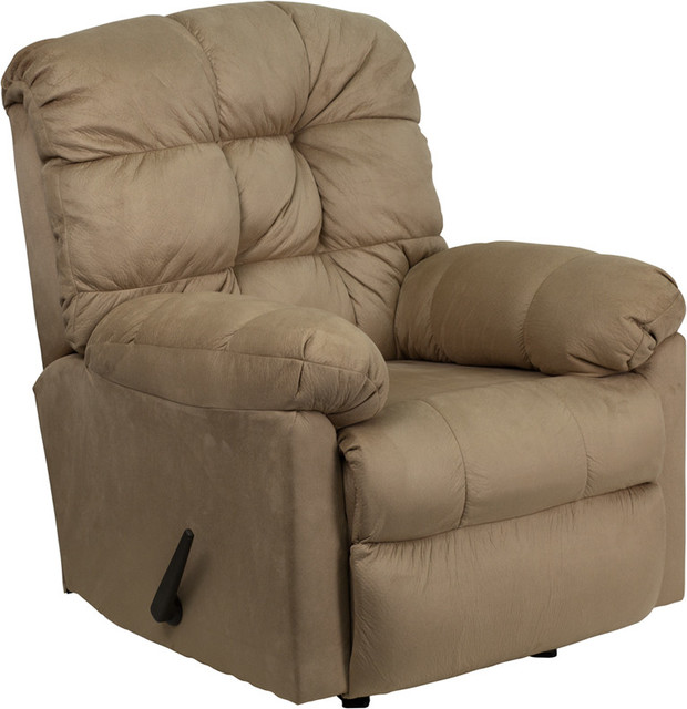 Contemporary Padded Saddle Microfiber Rocker Recliner contemporary-armchairs-and-accent-chairs