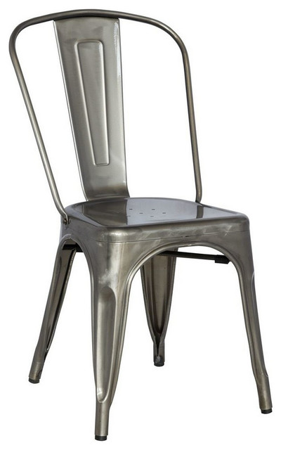 Alfresco Galvanized Steel Side Chair - Set of 4, Gun Metal industrial-dining-chairs