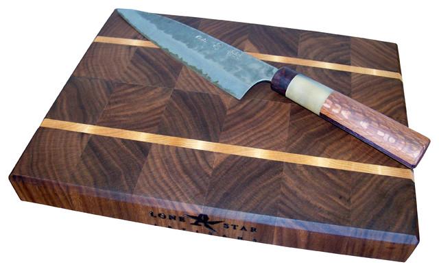 End Grain Walnut with Maple Stripes Cutting Board traditional-cutting-boards
