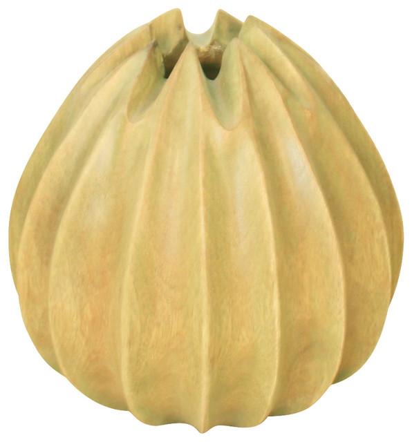 Vase Lotus Ball Sust Mango Wood 9 D x 10 inch H w Eco Friendly Livos Green Stain midcentury-vases