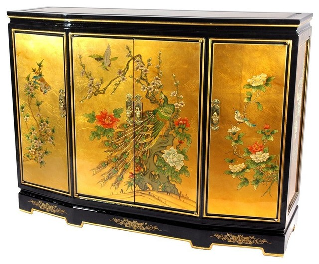 Gold Leaf Slant Front Cabinet traditional storage units and cabinets