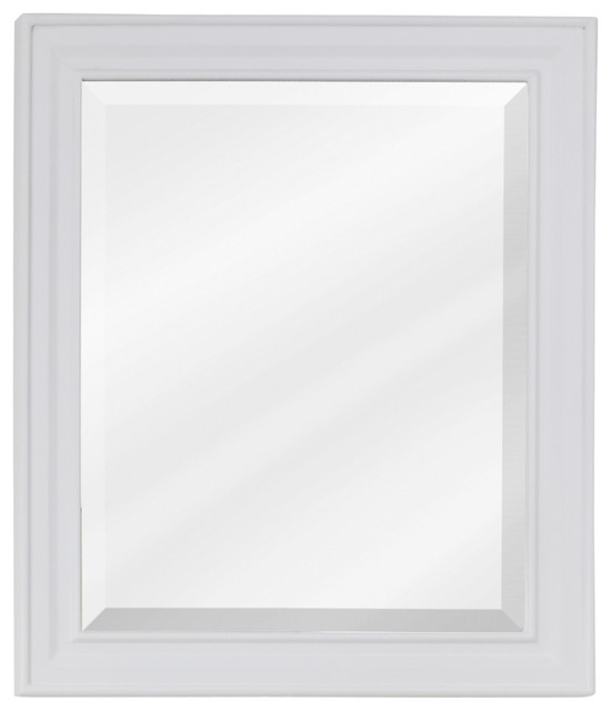 Recessed Panel Vanity Set with Fluted Pilasters Matching Mirror (White) transitional-bathroom-mirrors