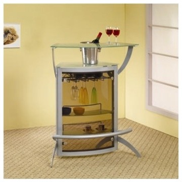 Knox bar unit in silver modern display and wall shelves for Modern wall bar unit