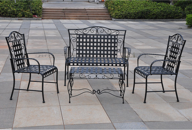 Wrought Iron Settee Patio Set Contemporary Patio Furniture And Outdoor Fu