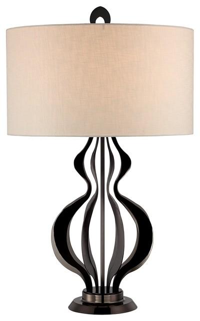 Possini Euro Design Black Steel Double Gourd Table Lamp contemporary
