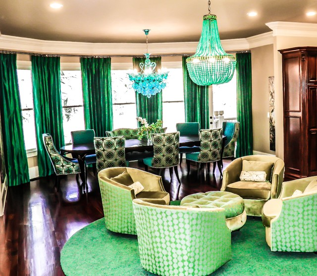 Emeralds and Sapphires transitional-dining-room
