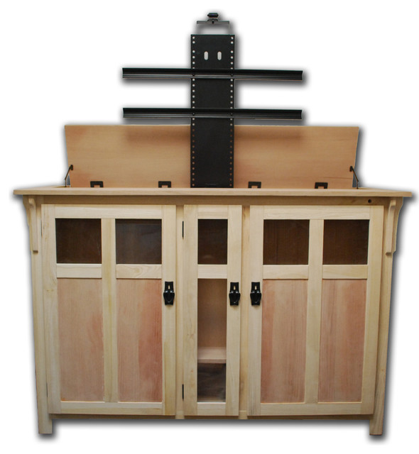 Bungalow unfinished tv lift cabinet for flat screen up to for Tv lift consoles for flat screens