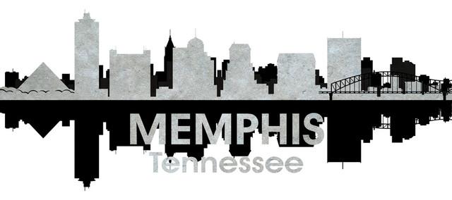 Memphis TN Black and White Concrete Jungle Print contemporary-prints-and-posters