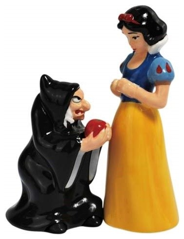 Snow White and Evil Queen with Poison Apple Salt and Pepper Shakers eclectic-salt-and-pepper-shakers-and-mills
