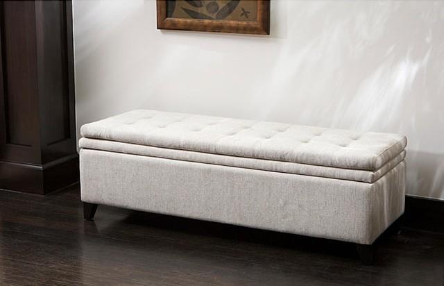 Brighton White Linen Storage Ottoman contemporary-benches