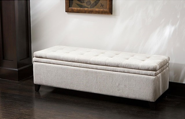 Brighton White Linen Storage Ottoman contemporary-ottomans-and-cubes
