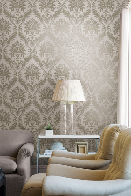 Olympia Wallpaper By Brewster Traditional Living Room
