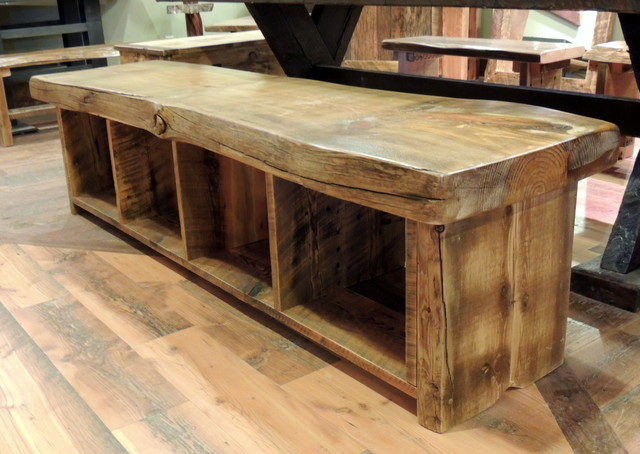 Rustic Wooden Foyer Bench : Barnwood dining room furniture rustic benches