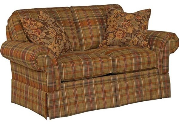 Broyhill Erickson Loveseat In Brown Plaid 6482 1q Br Traditional Upholstery Fabric