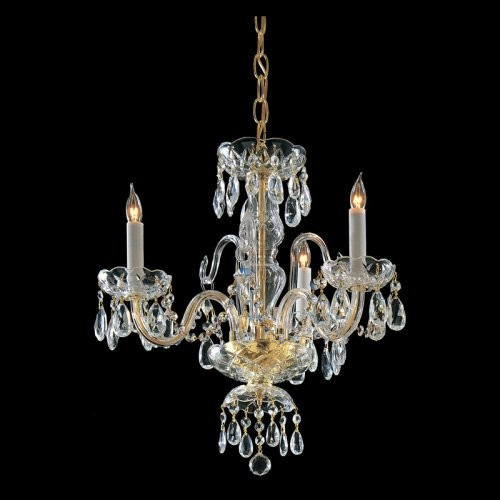 Crystorama 5044-PB-CL-SAQ Waterfall Swarovski Spectra Chandelier - 16W in. traditional-chandeliers