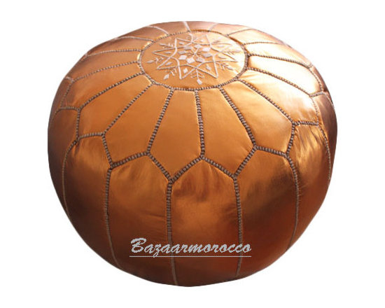 Moroccan Leather Footstool Pouf Light Bronze -