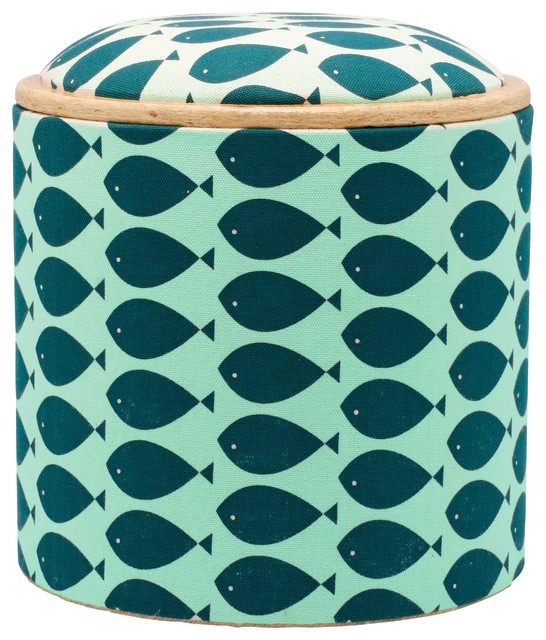 Fish Turquoise Box Ottoman beach-style-footstools-and-ottomans