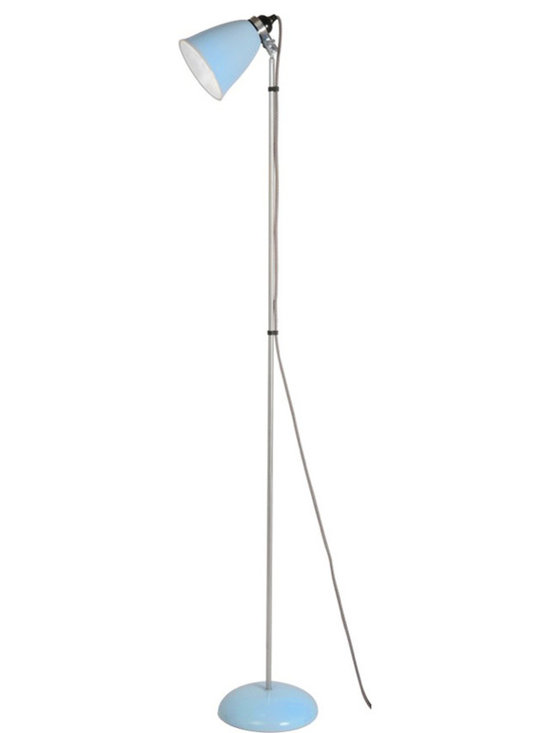 Original BTC - Hector Medium Floor Light - Blue - Original BTC - A British design classic in translucent bone china. With its movable shade and smart cotton braided flex, the Hector floor light perfectly marries style and function. The fine bone china is very attractive unlit and gives a wonderful ambient light when illuminated. The shades are slipped cast and hand-finished by skilled craftsmen. Manufactured in a factory in the UK dedicated to green manufacturing practices.