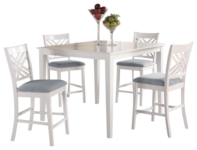 Lovely White Square Counter Height Table With 4 Chairs Traditional Dining
