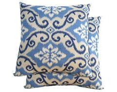 2-Piece Toss Pillow Set in Blue Scroll eclectic-outdoor-pillows