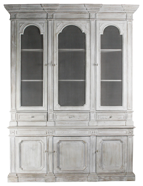 Heritage Antique White Mesh Front French Style Grand Display Cabinet - Transitional - Storage ...