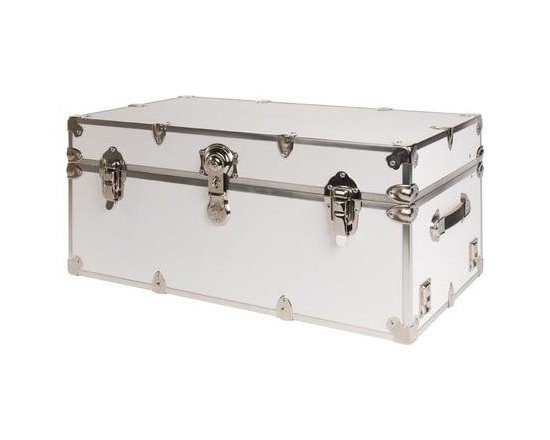 Rhino - Rhino Armor Storage Trunk in White (Small: 30 - Choose Size: Small: 30 W x 16 D x 12.5 H (24 lbs.)Two nickel plated steel universal wheel adapter plates mounted on the side of the trunk. Laminated armor exterior. Strong hand-crafted construction using both old world trunkmaking skills and advanced aviation rivet technology. Steel and aluminum aircraft rivets used to ensure durability. Heavy duty proprietary nickel plated steel hardware. Steel lid hinges and steel lid stay for keeping the lid propped open. Tight fitting steel tongue and groove lid to base closure to keep out moisture, dirt, insects and odors. Stylish lockable nickel plated steel trunk lock. Loop for attaching a padlock. Genuine leather handles. American craftsmanship. Self-sticking adhesive on the back of the name plate. Upper or lower case lettering. Lettering is in black. The name plate can take 24 characters per line. The max number of lines is 2. Warranty: Lifetime warranty includes free non-cosmetic repairs for the life of the trunk. Made from smooth 0.38 in. premium grade baltic birch hardwood plywood. No paper or plastic lining anywhere avoiding peeling or tearing. Name plate made from plastic. No assembly required. Name Plate: 3 in. L x 1 in. H (0.5 lbs.)The hand-crafted American Made Rhino Armor Cube is constructed from the highest quality components. Rhino Armor is an exterior 1000d Cordura Nylon textured sheathing that's highly resistant to water penetration, denting and scratching. The Rhino Armor Cube is conveniently sized and ruggedly built. In fact, its strong enough to stand on ! The Rhino Armor Cube is easily stowed and can be securely locked to insure the safety of personal items. The Rhino Armor Cordura sheathing ensures that Rhino Armor Cubes have the most durable exterior available in the trunk industry. Rhinos brushed bright metal finish name plates are a great addition to any Rhino Trunk.