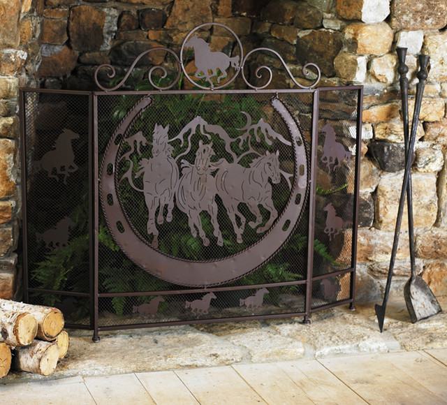 Running horses fireplace screen eclectic fireplace screens other metro by lone star - Houzz fireplace screens ...