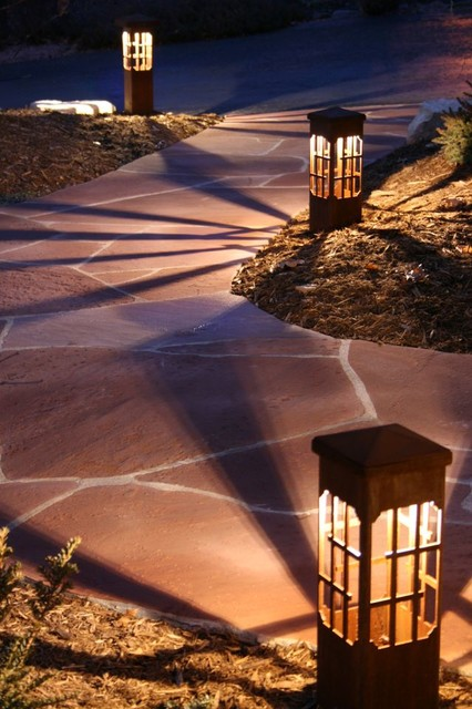 decorative steel bollard lights contemporary outdoor