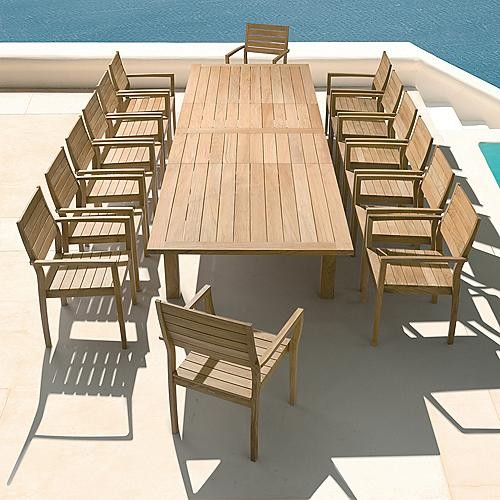 Contemporary Outdoor Dining Furniture: Apex Extending Outdoor Dining Table, Patio Furniture