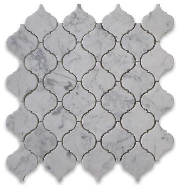 Carrara White Marble Medium Lantern Baroque Mosaic Tile