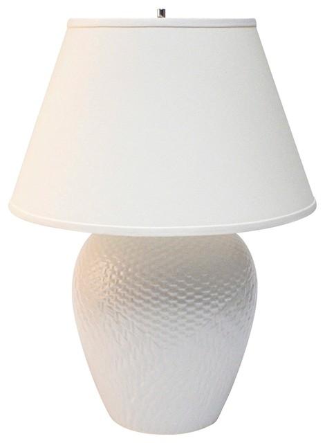 potteries white ceramic basket table lamp contemporary table lamps. Black Bedroom Furniture Sets. Home Design Ideas
