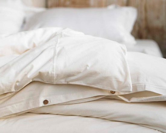 Organic Jersey Duvet Cover - The soft jersey bedding captures everything you love about your favorite vintage t-shirt. Comfortable and easy to care for, the knit is made of organic cotton with coconut shell button closure. Sourced and woven in India.