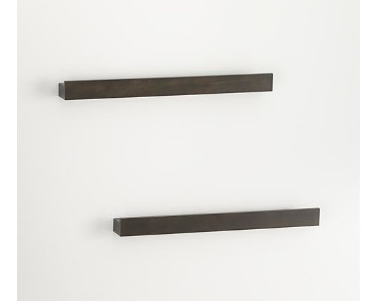 """Set of 2 Archetype 24"""" Brown Photo Ledges - Dark brown photo ledges with a built-in rails make it easy to display photos or artwork. Lightweight and sturdy shelves get their hidden strength from a hollow-core construction, supporting up to 36 pounds each. Combine with Archetype's other sizes for a functional, dimensional wall display."""