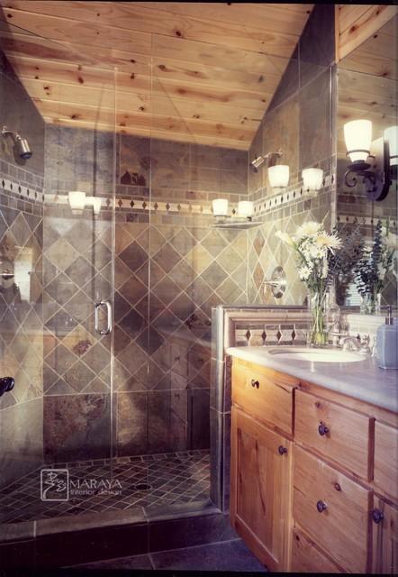 Slate Shower rustic-bathroom