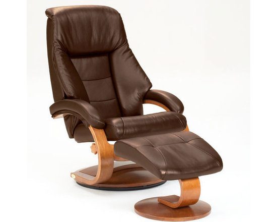 """Mac Motion - Oslo 58 Leather Ergonomic  Recliner and Ottoman - Features: -Tension control.-Pillow top back rest along each side of the back cushion and angled head rest.-360 degree swivel.-Multiple adjustment for personalized reclining positions and matching angled ottoman.-Seat cushions attached.-Back cushions attached.-Memory foam.-Frame construction: Hardwood.-Collection: Oslo.-Pattern: Solid.-Distressed: No.-Upholstery Material: Leather.-Frame Material: Wood.-Hardware Material: Steel.-Solid Wood Construction: No.-Number of Items Included: 2.-Pieces Included: Recliner and Ottoman.-Non-Toxic: No.-Water Resistant: No.-Fire Resistant: Yes.-Heating: No.-Scratch Resistant: No.-Stain Resistant: Yes.-Mildew Resistant: No.-Fade Resistant: No.-Tear Resistant: No.-Coils or Springs: No.-Seating Comfort: No.-Cushion or Upholstery Fill Material: Foam; Dacron Wrap; Memory Foam.-Removable Seat Cushion: No.-Slipcovered: No.-Skirted: No.-Ottoman Included: Yes -Storage Ottoman: No.-Angled Top Ottoman: Yes..-Toss Pillows Included: No.-Adjustable Headrest: No.-Rocker: No.-Swivel: Yes.-Wall Hugger: No.-Power Recline: No.-Reclining Mechanism Side: Right.-Reclining Mechanism Details: Handle.-Required Back Clearance to Recline: 12"""".-Required Front Clearance to Recline: 3"""".-Cupholders: No.-Footrest Included: Yes -Retractable Footrest: No..-Back Type: Tight Back.-Arm Type: Round Arm.-Removable Legs: No.-High Legged: No.-Casters: No.-Nailheads: No.-Storage: No.-Weight Capacity: 280 lbs.-Swatch Available: Yes.-Commercial Use: No.-Recycled Content: No.-Eco-Friendly: No.-Product Care: Wipe clean with moist cloth.Specifications: -FSC Certified: No.-CARB Compliant: Yes.-ISTA 3A Certified: No.-Green Guard Certified: No.-ISO 9000 Certified: No.-ISO 14000 Certified: No.-SFI Certified: No.Dimensions: -Overall Height - Top to Bottom: 44.75"""".-Overall Width - Side to Side: 30"""".-Overall Depth - Front to Back: 36"""".-Seat Height - Top to Bottom: 18.5"""".-Seat Width - Side to Side: 22"""".-Seat Depth - Front to"""