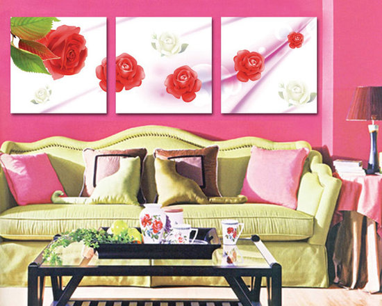 red rose on canvas - Elegant three piece of one art, beautiful roses photos on canvas have potential to be center or attraction of your living room.