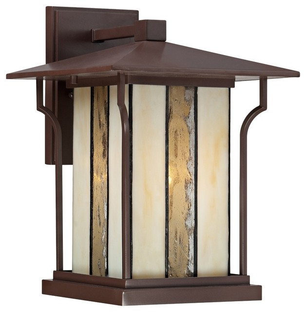 Quoizel Langston 9 Wide Chocolate Bronze Outdoor Wall Light Tradition