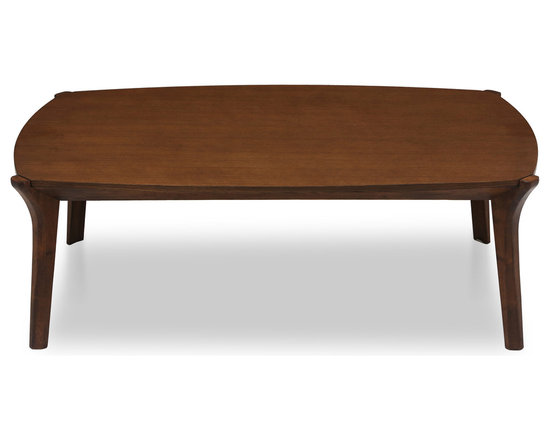 Bryght - Mier Cocoa Wood Coffee Table - The Mier coffee table adds a mid century modern elegant look to your living room decor with its well crafted angled legs that join seamlessly to its wood base.