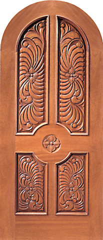 Round Top Single Door Floral Hand Carved 4 Panel In