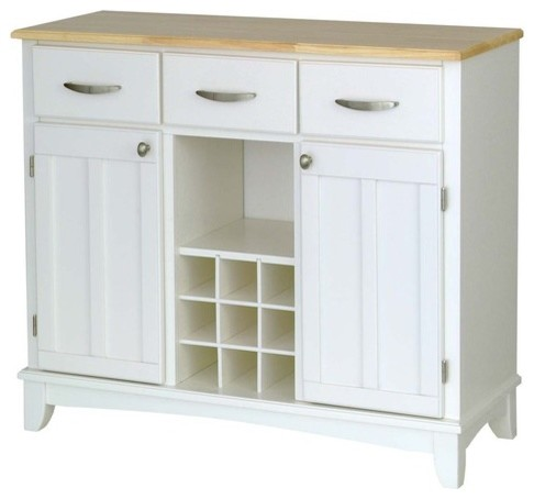Large White Base and Natural Wood Top Buffet modern-buffets-and-sideboards