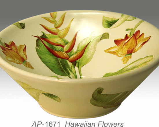 """Hand Painted Vessels Sinks by Atlantis - """"HAWAIIAN FLOWERS"""" Shown on AP-1671 Valencia vessel sink O/D 16-1/2"""" Dia x 7"""" H center drain with and without overflow."""