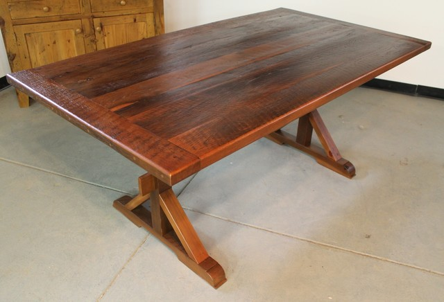 Very Rustic Trestle Table Farmhouse Dining Tables