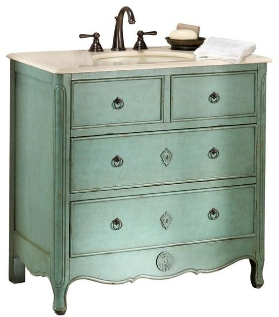 Keys Vanity Distressed Aquamarine Traditional