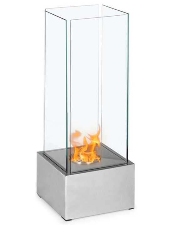 Moda Flame - Carballo Table Top Ethanol Fireplace - Carballo's contemporary fireplace tall and slender form, it is sure to catch the eyes of anyone. This freestanding model is defined by four surrounding tempered glasses, which encase a circular burner.