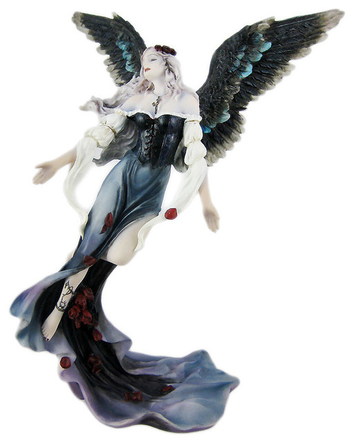 Gothic Grieving Rose Petal Angel Statue Figure - Contemporary - Decorative Objects And Figurines ...