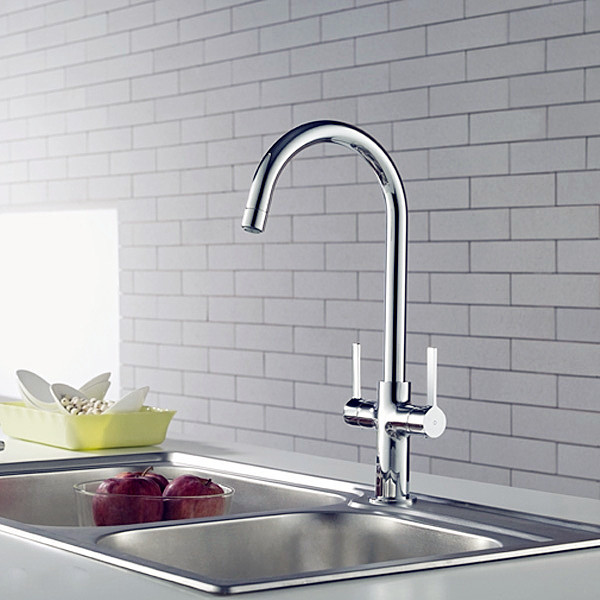 Bright Elegant Double Handle Kitchen Faucet Modern Kitchen Faucets Other Metro By Jollyhome