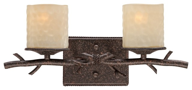 """Contemporary Twig Faux Candle Glass 17 1/2"""" Wide 2-Light Bath Light contemporary-wall-lighting"""