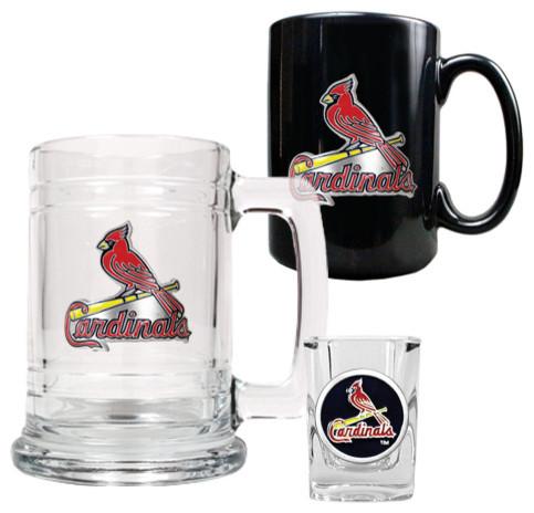 St. Louis Cardinals MLB 3-pc Tankard - Mug - Shot Glass set modern-wine-glasses